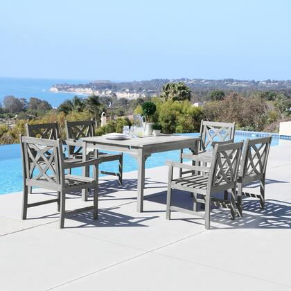 Renaissance Collection V1626SET8 7 PC Outdoor Dining Set with Rectangle Table  Armchairs  Umbrella Hole and Hand-Scraped Acacia Hardwood in Grey