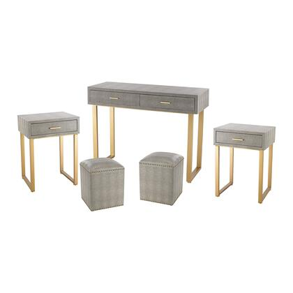 Beaufort 3169-025/S5 Set of 5 Furniture Set with 1 Desk  2 Side Tables  2 Stools  Drawers  Gold Metal Hardware and Faux Shagreen Material in Grey