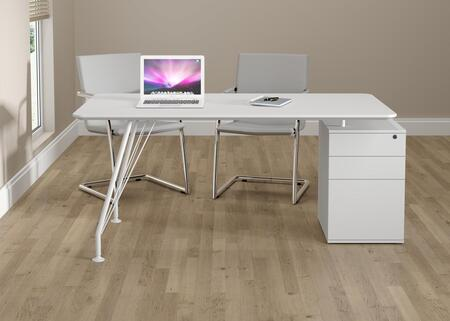 18600WH Home Office White Rectangular Desk with Drawer