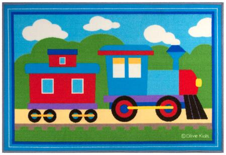 683410 Olive Kids Trains  Planes  Trucks 31.5x45 in. Rug  Blue