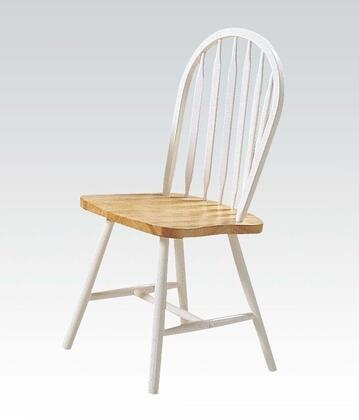Farmhouse Collection 02613NW 36 inch  Set of 4 Side Chairs with Spindle Back  Oval Seat  Plain Tapered Legs and Rubberwood Construction in Natural and White