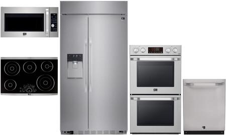 "5-Piece Stainless Steel Kitchen Package with LSSB2692ST 42"""" Side by Side Refrigerator  LSCE305ST 30"""" Electric Cooktop  LSDF9962ST 24"""" Built In Dishwasher"" 765521"