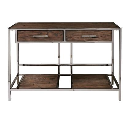 DSD153215 Modern Industrial Style Chocolate Brown Wood And Smoked Metal Sofa Table