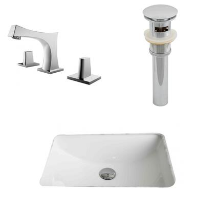 AI-13256 20.75-in. Width x 14.35-in. Diameter CUPC Rectangle Undermount Sink Set In White With 8-in. o.c. CUPC Faucet And