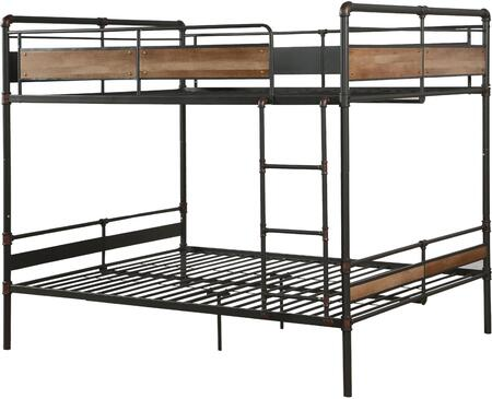 Brantley II Collection 37730 Queen Over Queen Size Bunk Bed with Slat System Included  Easy Access Guardrail  Fixed Front Ladder and Metal Construction in