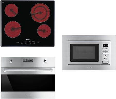 3-Piece Stainless Steel Kitchen Package with S2641TCU 24 inch  Smooth Cooktop  SU45MCX1 24 inch  Single Wall Oven  and MI20XU 24 inch  Built In