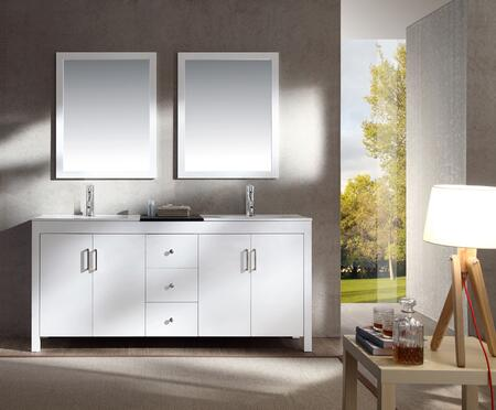 K072DWHT Ariel Hanson 72 inch  Double Sink Vanity Set with Black Granite Middle Countertop  Block Feet  Simple Pulls and Matching Framed Mirrors in