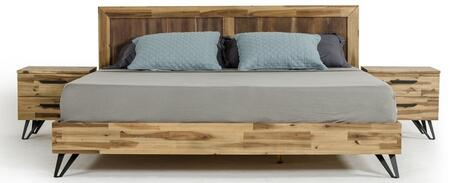 Modrest Sala Collection VGWHSALABED-Q Queen Size Platform Bed with Metal Legs  Slats Included in Light Wood