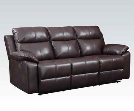 Dyson Collection 50855 86 inch  Motion Sofa with Pillow Top Arms  Wood and Metal Frame  Tight Cushions and Leather-Aire Upholstery in Burgundy