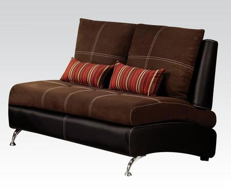 Jolie Collection 51761 54 inch  Loveseat with 2 Pillows Included  Pine Wood Construction  Loose Back Cushions  Tight Seat Cushions  Suede and PU Leather Upholstery