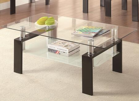 702288 Occasional Group 702280 Coffee Table with Tempered Glass Top  Metal Legs and Frosted Glass Shelf in Black