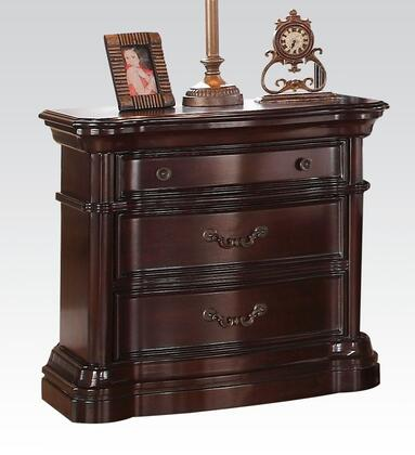 Veradisia Collection 20634 34 inch  Nightstand with 3 Drawers  Wood Top  Metal Hardware  Rubberwood and Bentwood Construction in Dark Cherry