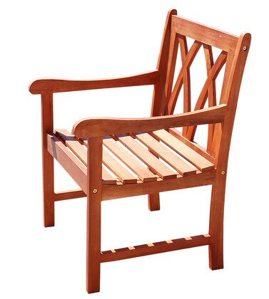 V1633 Malibu Eco-Friendly Outdoor Hardwood Garden Arm Chair  Natural