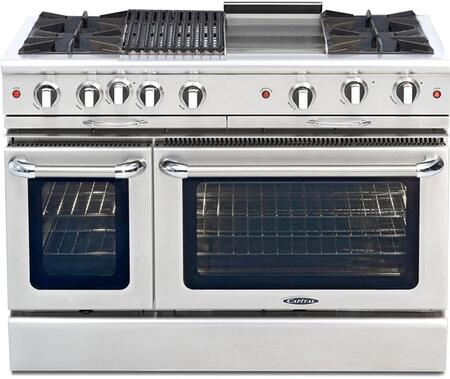"Culinarian Series CGSR482BG2-L 48"""" Freestanding Liquid Propane Range with 4 Open Burners  Primary 4.6 Cu. Ft. Oven Capacity  and Secondary 2.1 Cu. Ft. Oven"" 341182"