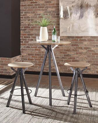 182231-S3 3-Piece Bar Table Set with Round Bar Table and 2 Bar Stools in Sand Blasted White and Antique