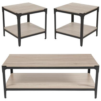 Northvale Collection NAN-CEK-34-GG 3 Piece Coffee And End Table Set In Sonoma Oak Wood Finish And Black Metal