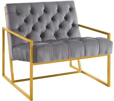 Modway EEI-3073-GRY Bequest Gold Stainless Steel Upholstered Velvet Accent Chair Gray