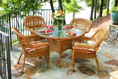 Portside PSD-AM MONTL 5-Piece Dining Set with Round Table and 4 Chairs in Amber with Monti Leaf
