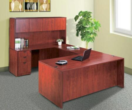 KIT1N101C Desk Shell Complete with Bridge  Credenza  Hutch  and Pedestal Box File in Cherry