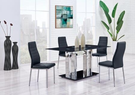 D252DT4D140DC 5-Piece Dining Room Set with Dining Table and 4 Dining Chairs in Black and