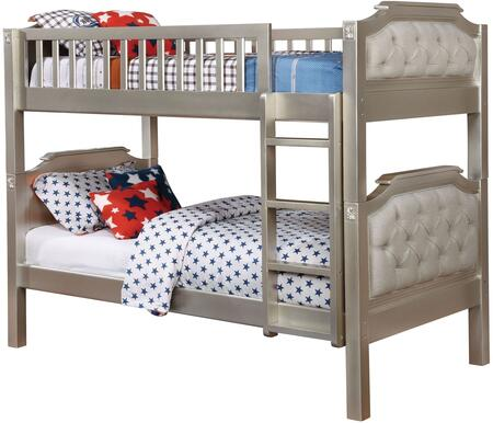 Beatrice Collection CM-BK717-BED Twin Size Bunk Bed with Button Tufted Fabric Headboard  Attached Ladder  Solid Wood and Wood Veneers Construction in Champagne