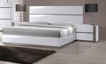 MANILA Series MANILA-BED-QUEEN MANILA Queen Size Bed with Headboard  Footboard  Side Rails and Slats in Gloss White & Grey