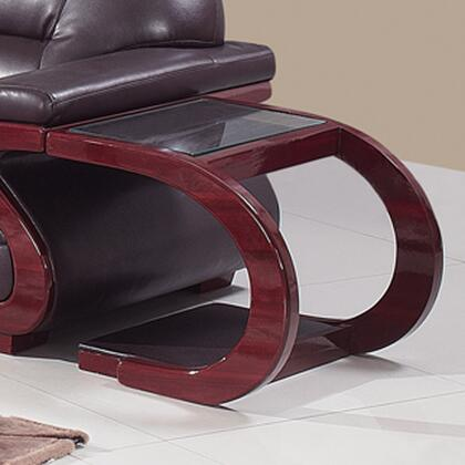 A086ET Glass Top End Table with Curved Legs in Cherry
