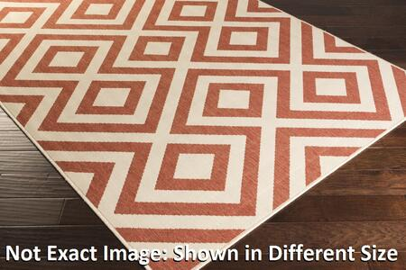 Alfresco Alf9642-89129 89 X 129 Rectangular 100% Polypropylene Rug With Low Pile  Loop Texture  And Machine Made In Egypt In Cherry And