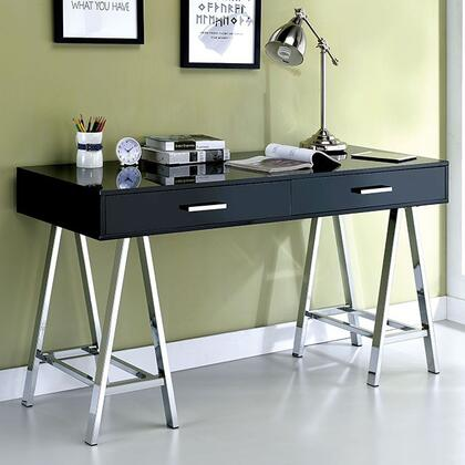 Liv CM-DK6133BK Computer Desk with Contemporary Style  Angled Chrome Legs  Metal Hardware  2 Drawers in