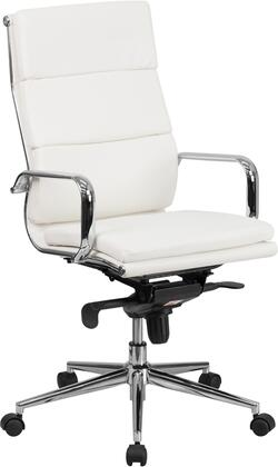 BT-9895H-6-WH-GG High Back White Leather Executive Swivel Office Chair with Synchro-Tilt