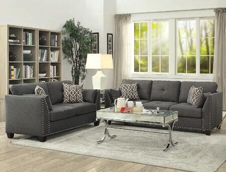 Laurissa Collection 524053SET 3 PC Living Room Set with Sofa  Loveseat and Coffee Table in Mirrored and Light Charcoal