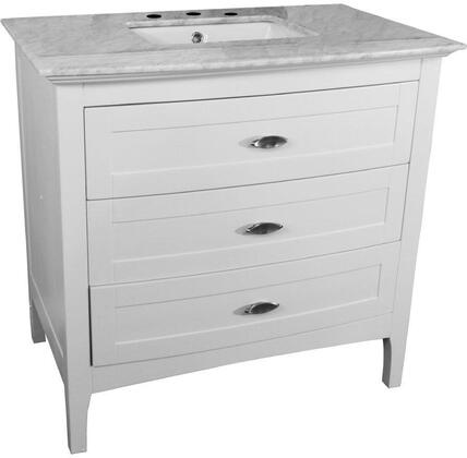 7612-WH-WH 36 inch  Single Sink Vanity in White with Marble Top in