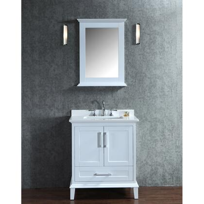SCNAN30SWH Seacliff by ARIEL Nantucket 30 inch  Single Sink Vanity Set with Quartz Top  Tapered Legs  and Molding Detail in