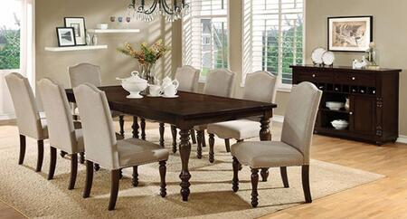 Hurdsfield Collection CM3133T8SCSV 10-Piece Dining Room Set with Rectangular Table  8 Side Chairs and Server in Antique