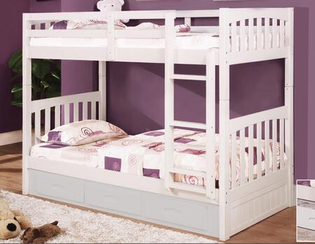 0210-W Twin Over Twin Mission Bunk Bed with Slat Kits and Mattress Ready in
