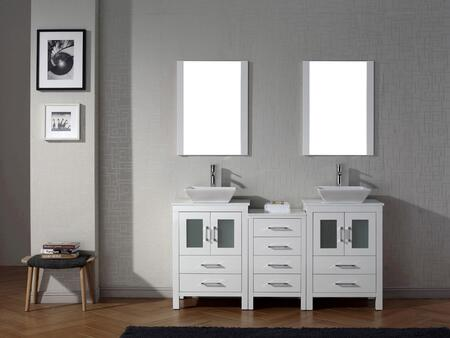 KD-70066-S-WH Modern 66 Double Sink Bathroom Vanity