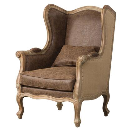 Guinevere Collection 3900036-NCEB Wing Arm Chair with High Wing-Back  Removable Cushion and Pillow in Nubuck