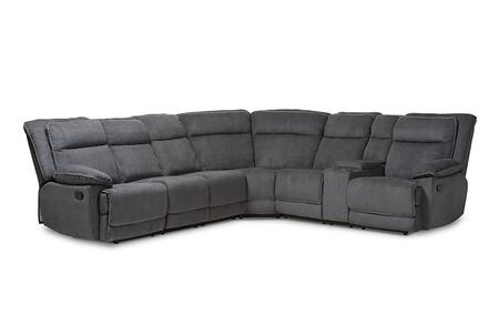 Sabella Collection RX038A-DARKGREY-SF 7 PC Reclining Sectional Sofa with 2 Consoles  2 Cup Holders  Pillow Top Arms  Wood Frame  Metal Reclining Mechanism and