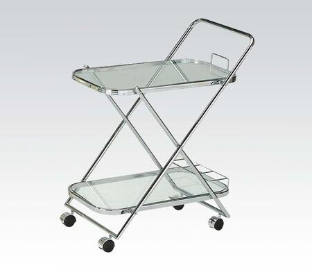 Gerwin Collection 98004 27 inch  Serving Cart with 5mm Clear Tempered Glass Top  Casters and Metal Frame in Chrome Plated