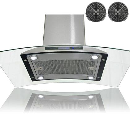 GIR0936 36 inch  Island Mount Range Hood with 870 CFM  65 dB  Innovative Touch  2W LED Lighting  3 Fan Speed  Aluminum Grease Filter and Ductless: Stainless