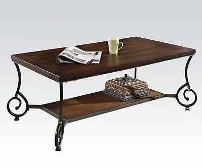 80115 Maxson Coffee Table with Chocolate Wood Top and  Shelf and Black and Gold