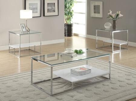 Ruben 80430CET 3 PC Living Room Table Set with Coffee Table + 2 End Tables Chrome