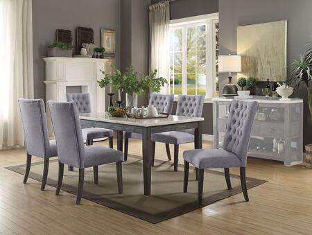 Merel Collection 701656SET 7 PC Dining Room Set with White Marble Top Dining Table and 6 Grey Fabric Upholstered Side Chairs in Grey Oak