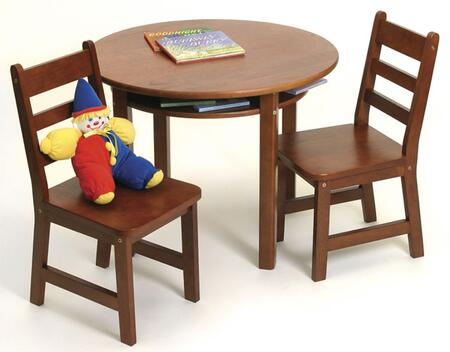 524C Lipper Child's Round Table with Shelf and 2 Chairs in Cherry