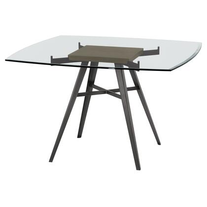 Ojai Collection LCOJDIMFGWBS Contemporary Dining Table in Mineral Finish with Clear Glass Top and Grey Walnut Wood