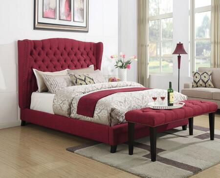 Faye Collection 20890Q2PC Bedroom Set with Queen Size Bed + Bench in Red