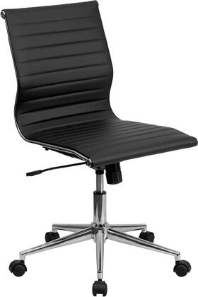 Mid-back Armless Black Ribbed Leather Swivel Conference Chair - Bt-9836m-2-bk-gg - Task BT-9836M-2-BK-GG