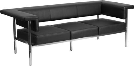 ZB-8811-3-SOFA-BK-GG HERCULES Fusion Series Contemporary Black Leather Sofa with Stainless Steel