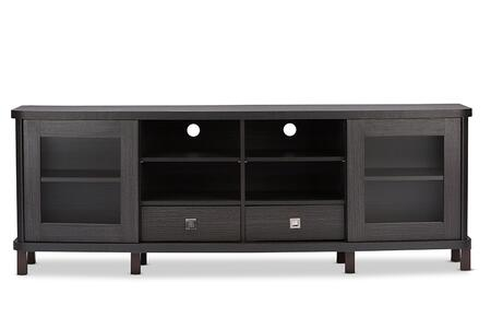 Walda Collection TV838070-EMBOSSE TV Stand with 2 Sliding Glass Doors  2 Drawer  8 Shelves  Vinyl Legs  Metal Hardware and Engineered Wood Construction in Dark