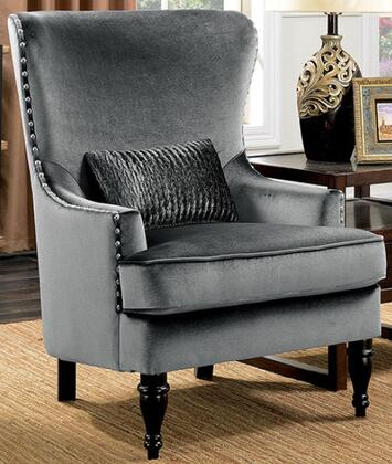 Manuela CM6145GY-CH Chair with Turned Legs  Nail Head Accents and Flannelette Fabric Upholstery in Dark